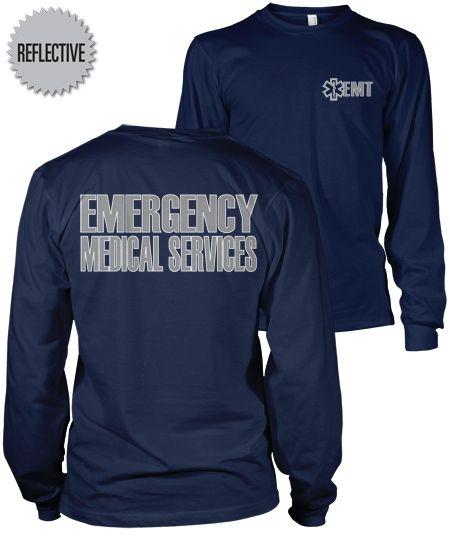 d3b5848a02b EMT Reflective Long Sleeve T-Shirt | I Want It! | Emergency medical ...