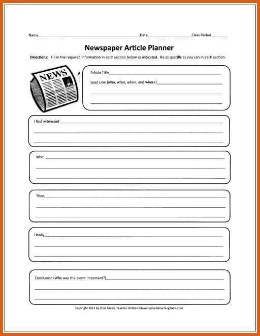 Newspaper Article Template Newspaperarticleplanner Newspaper