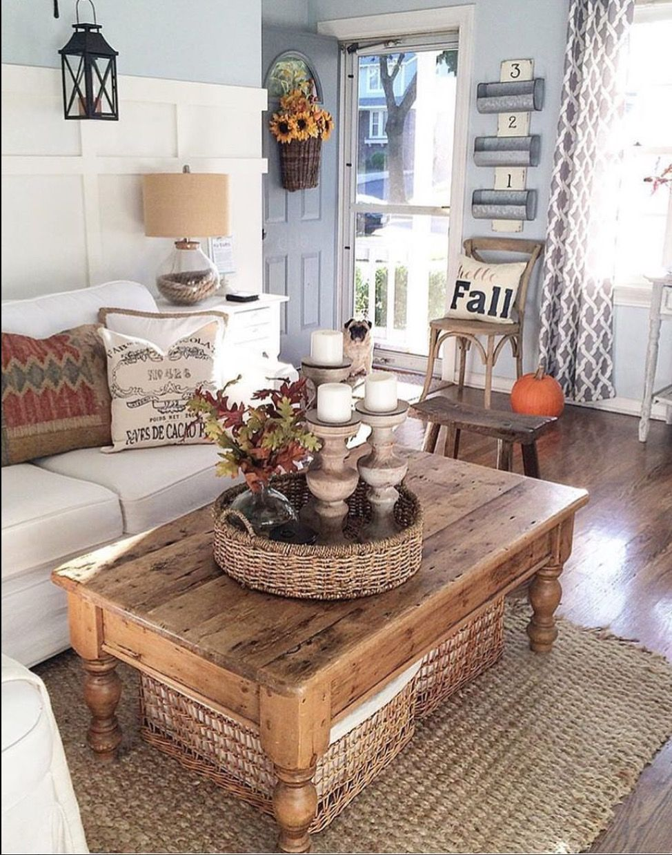 Coffee table with baskets underneath Farm house living