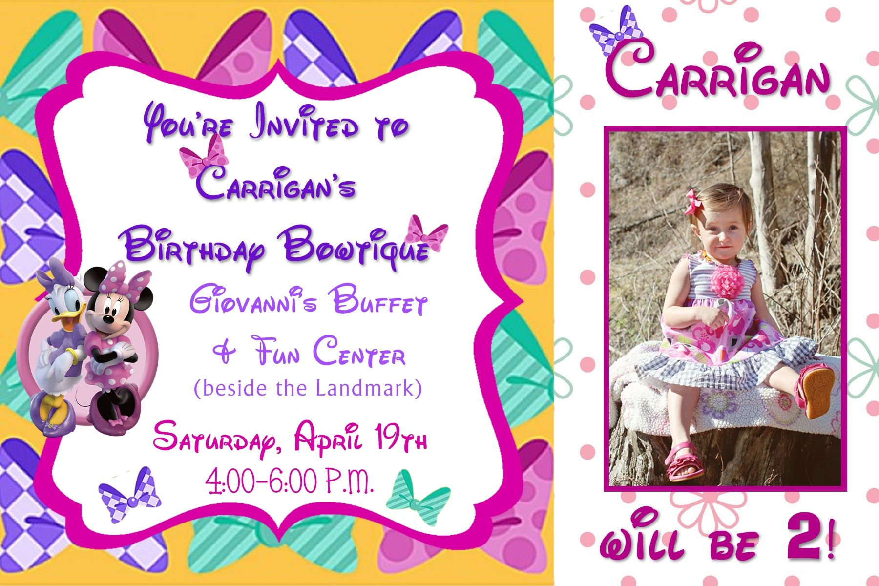 Minnies bowtique birthday invitation with photo in a 4x6 contact minnies bowtique birthday invitation with photo in a 4x6 contact me via email aswiney01yahoo stopboris Gallery