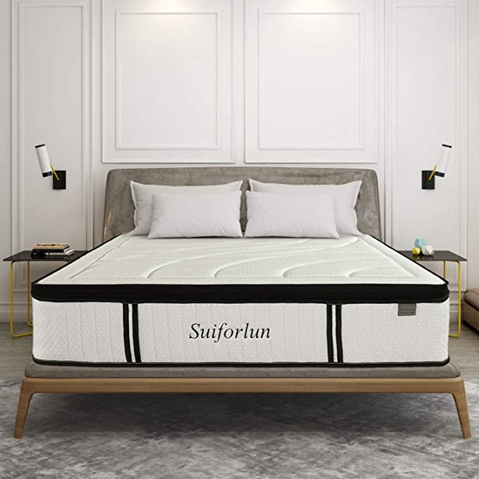 Suiforlun 14 Inch Hybrid Gel Memory Foam And Innerspring Mattress With Bamboo Cover Euro Top Lux In 2021 Luxury Mattresses King Bedroom Furniture Mattress
