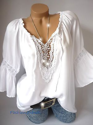 Italy Vintage Häkel Spitze Tunika Carmen Bluse Shirt Top Lagenlook*Grün*38 40 42
