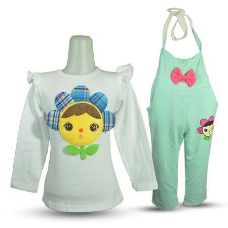Setelan Baju Anak Perempuan 2 Pcs Long Sleeve Dengan Aplikasi Patch Bergambar Bunga Dilengkapi Overal Celana Panjang Dari Baju Anak Anak Perempuan Perempuan
