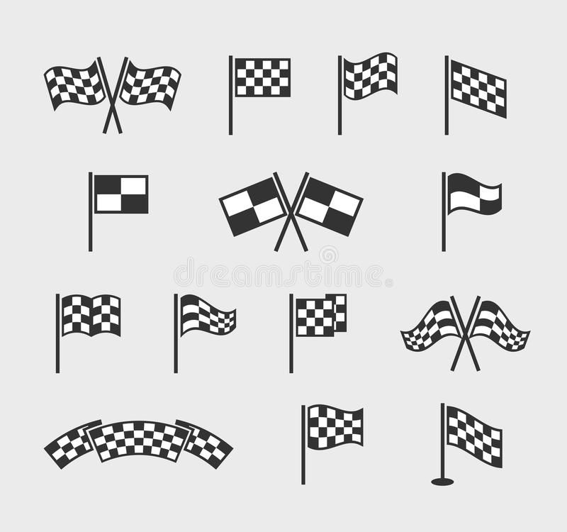 Checkered Vector Flags Racing Waving Finish And Start Line Flag Set Isolated On White Background Vector Illustration In 2020 Checkered White Background Vector
