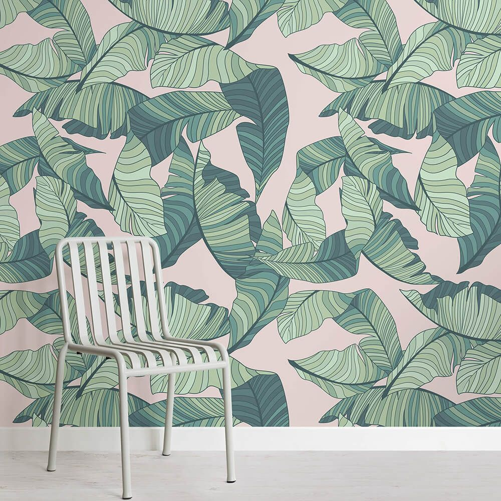 Pink And Green Tropical Leaf Wallpaper Bedroom Green