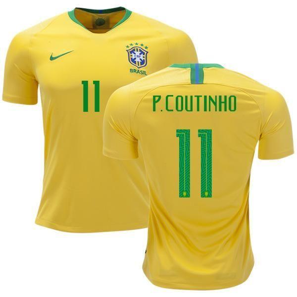 5145d8cf1 Men  11 P.Coutinho Jersey Home Brazil National 2018 FIFA World Cup ...