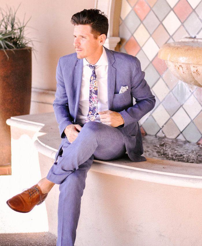 d5263e3a0a30 costume de mariage homme violet mauve lavande cravate fleurs