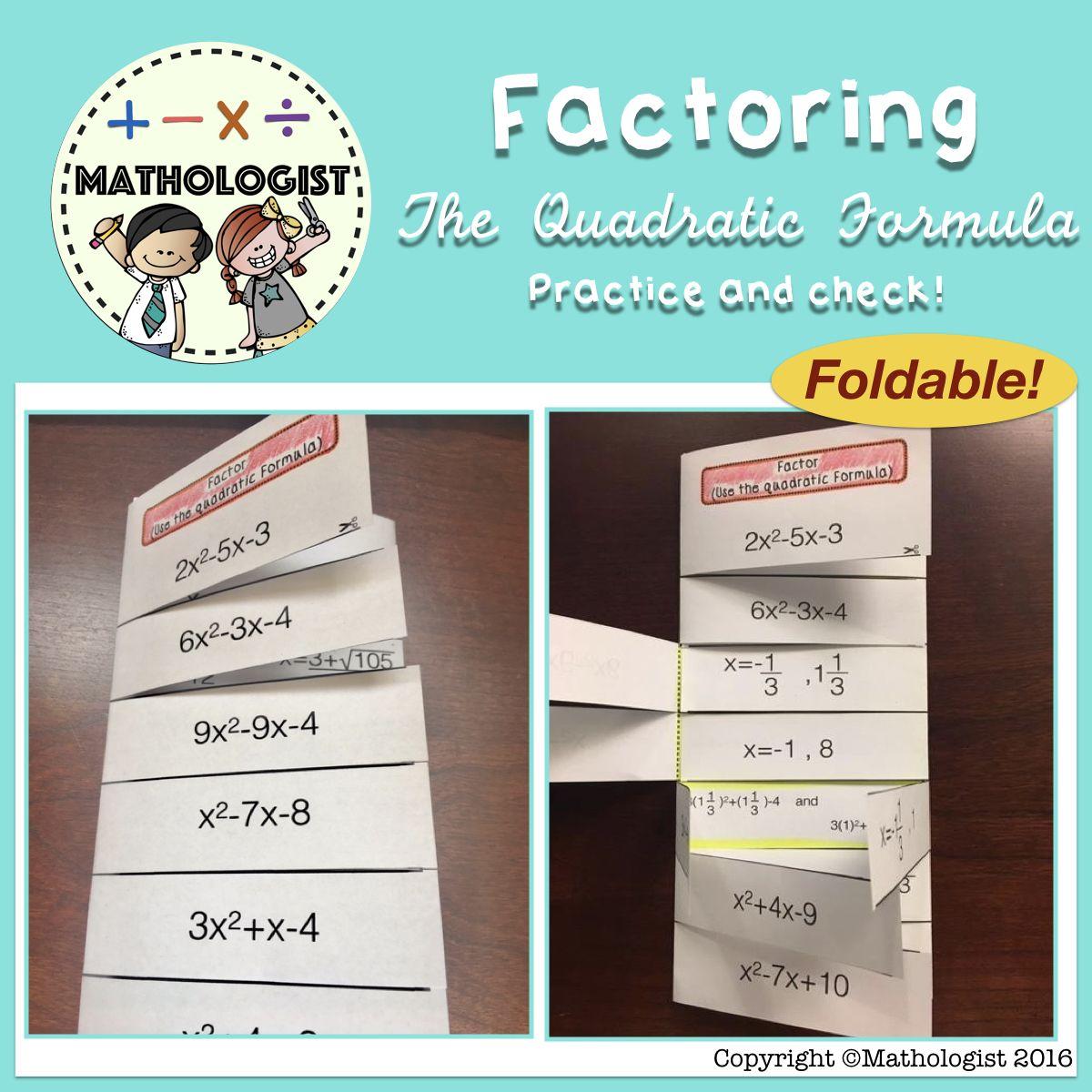 Factoring Using The Quadratic Formula Foldable