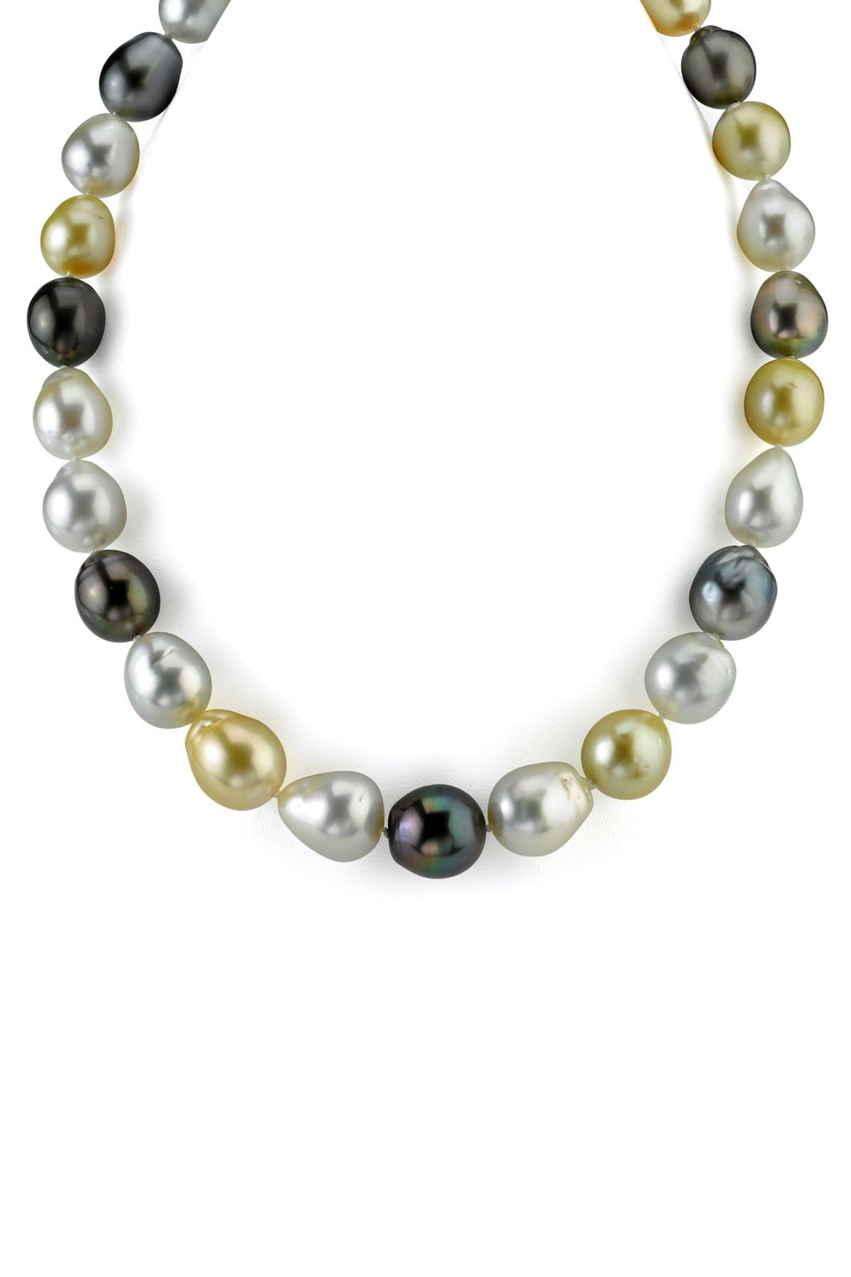 14k White Gold 1113mm Multicolor South Sea Baroque Pearl Necklace