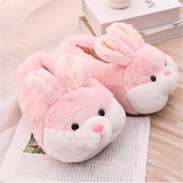 Photo of US $4.07 32% OFF|Women's Winter Cartoon Animal Cotton Shoes Cute Pink Rabbit Plush Slippers Woman Slides Warm Home Shoes Ladies Furry Flip Flops|Slippers|   – AliExpress