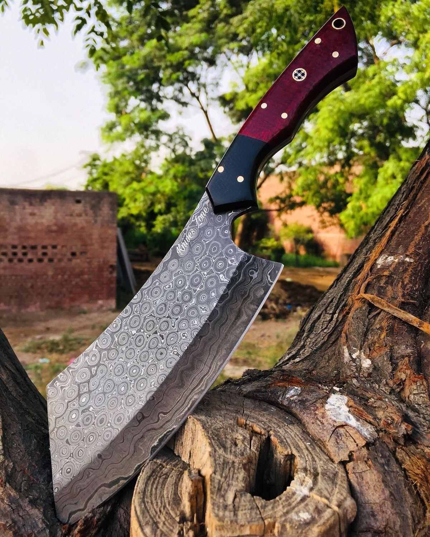 Handmade Damascus Steel Cleaver Knife Chopper Knife Chef Etsy In 2020 Damascus Steel Cleaver Knife Knife