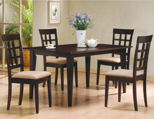5 Pc Espresso Brown 4 Person Table And Chairs Brown Dining Dinette Prepossessing Espresso Dining Room Table Sets Design Ideas