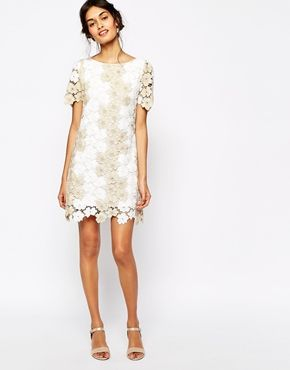 Pin For Later The 3 White Dresses You Need Your Wedding Weekend Soma London Heavy Metallic Crochet Lace Shift Dress