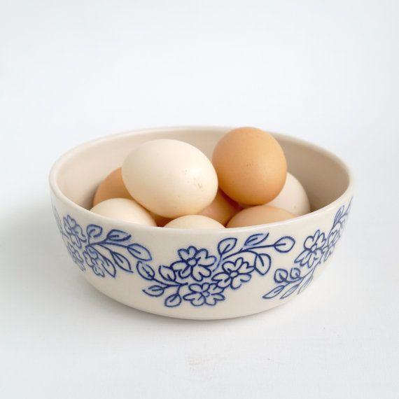 Hand carved blue floral patterned serving bowl
