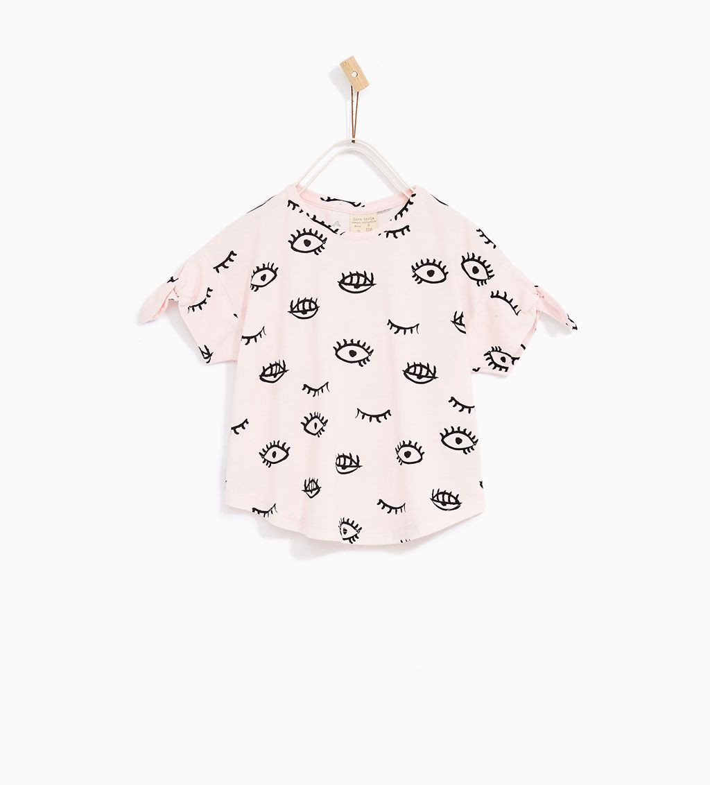 PRINTED T-SHIRT WITH KNOT-T-SHIRTS-GIRL   4-14 years-KIDS   ZARA United States