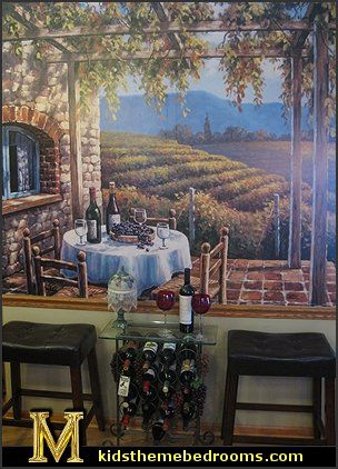 Wine lovers will delight in this atmospheric wall mural of a