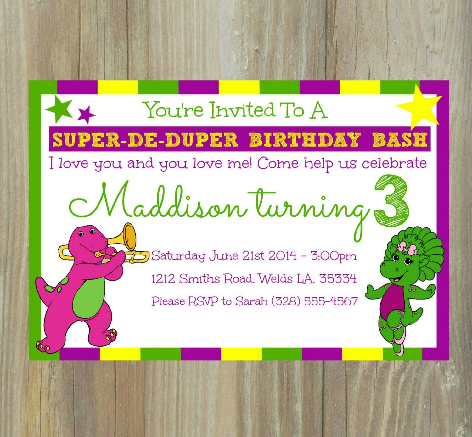Barney birthday invitation barney the dinosaur by kalaskorner barney birthday invitation barney the dinosaur by kalaskorner monicamarmolfo Images
