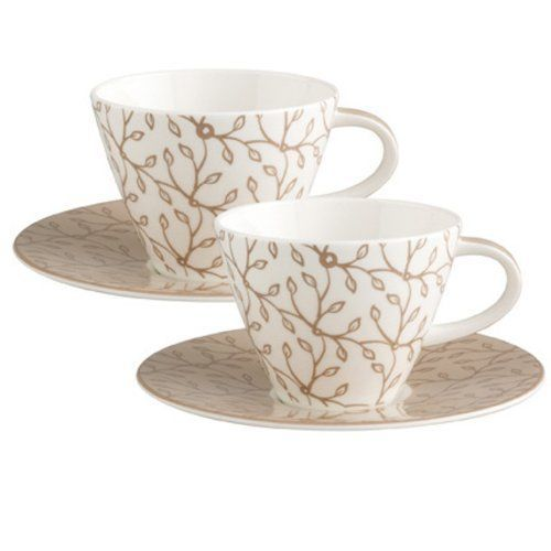 Villeroy and Boch Caffe Club Caramel Coffee Cups Saucers NEW