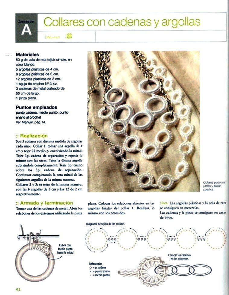 Collar Anillas de Crochet | bijouterie | Pinterest | Collares ...