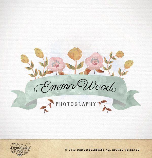 Logo Design Custom Premade Watercolor Flowers For Photography Boutique Small Business 39 90 Via Etsy Demoiepixel Cute Pinterest Organizacion