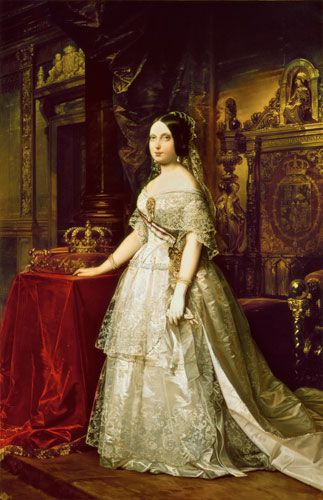 1833-68 Her Catholic Majesty Isabel II, by the Grace of God, Queen of Spain and the Indies  Her other titles were Queen of Castile, Leon, Aragon, the Two Sicilies, of Jerusalem, Navarra, Granada etc