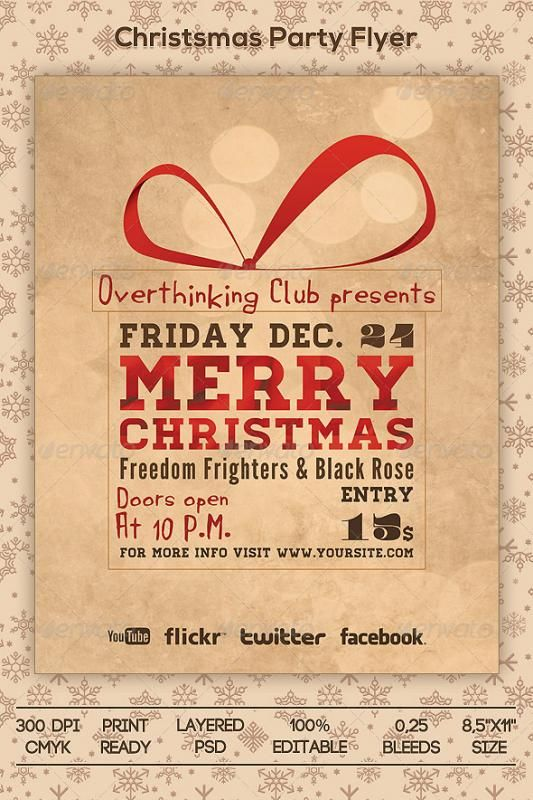 Holiday Party Flyer template Pinterest Party flyer, Flyer
