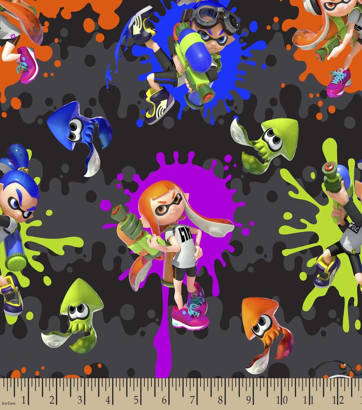 Nintendo Print Fabric-Splatoon Action
