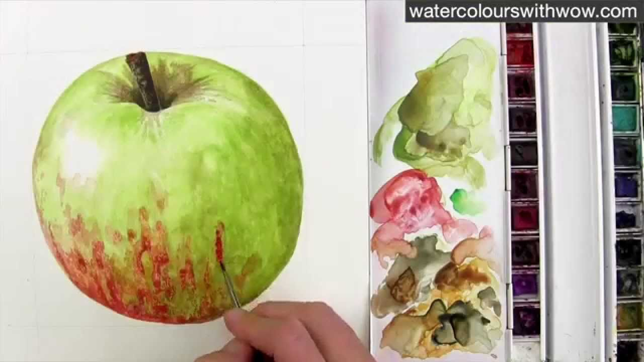 How to paint a red and green apple without making brown - in watercolor