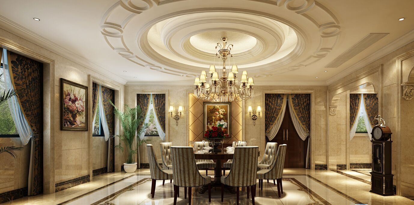 european-style restaurant circular ceiling decoration | ceiling