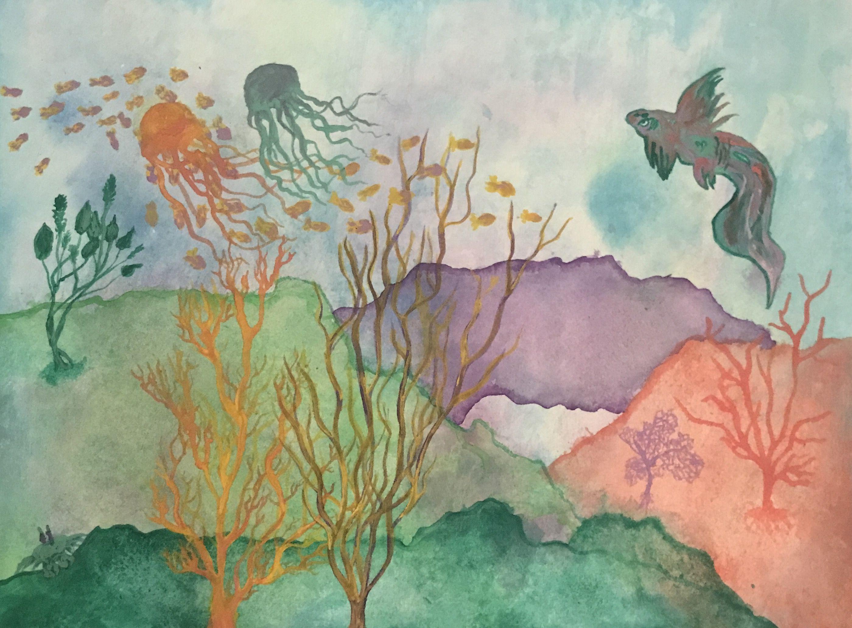 Original watercolor art for sale -  Alive Original Watercolor Painting By Caroline Beyermann 9x12 Inches For Sale