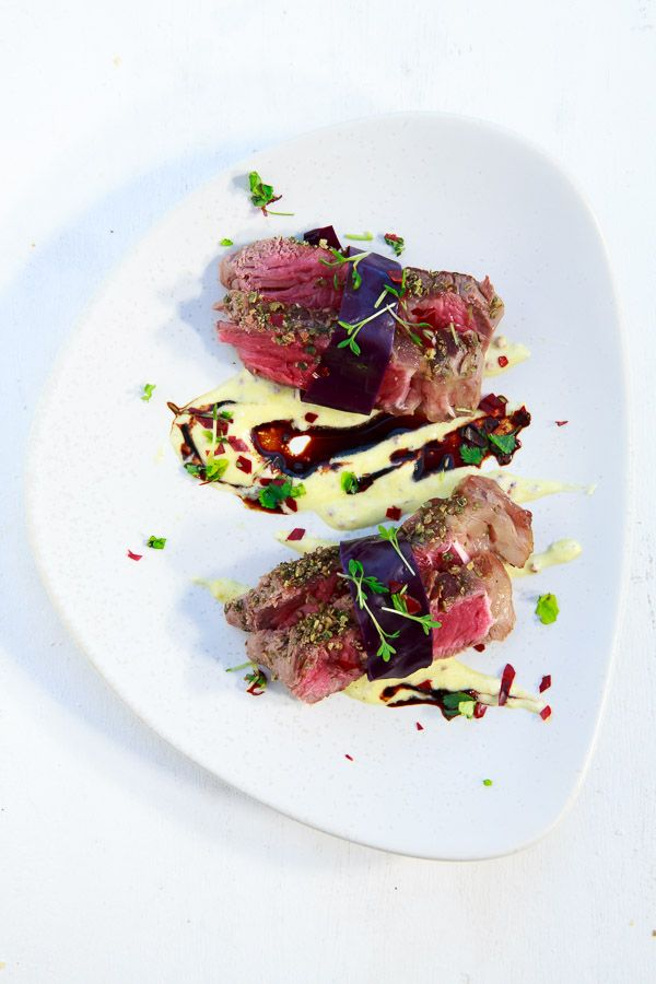 Photo of Roast beef sushi with horseradish cream and red cabbage