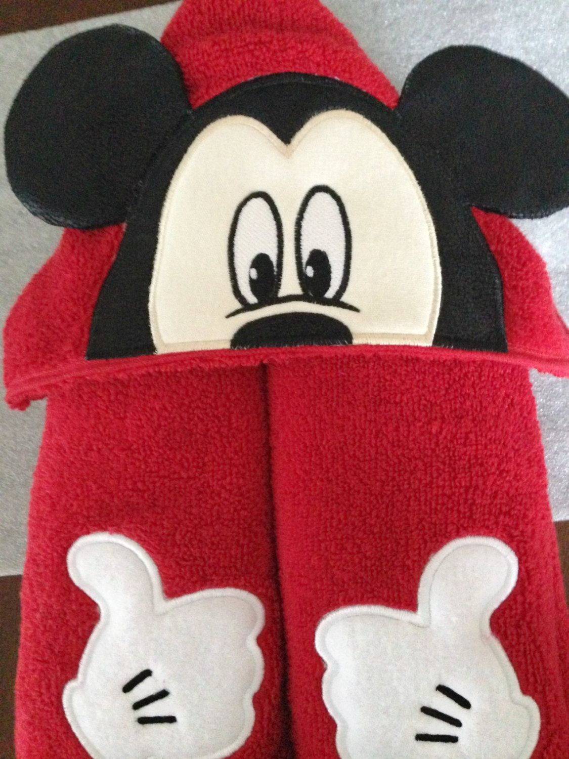 mickey mouse hooded towel 3d appliqued and embroidered disney