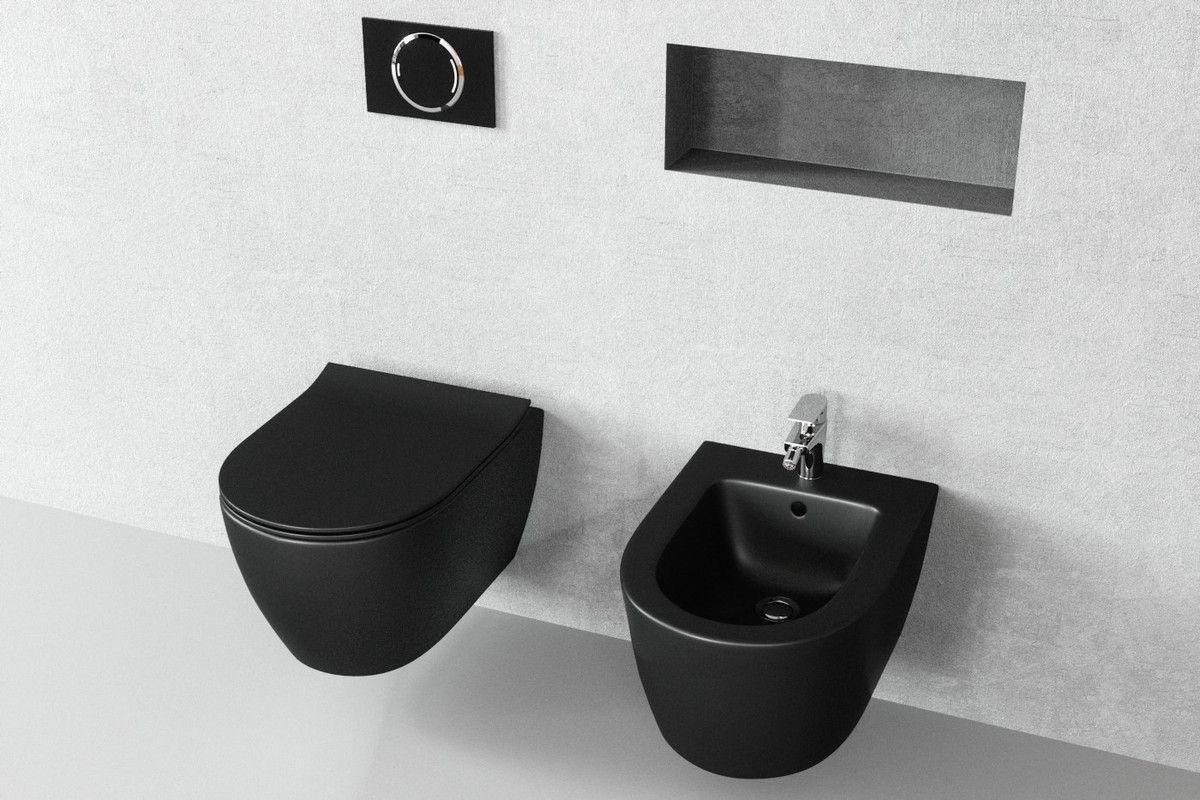 sp lrandloses wand wc aldo schwarz matt mit soft close deckel abnehmbar in 2019 schwarz matt