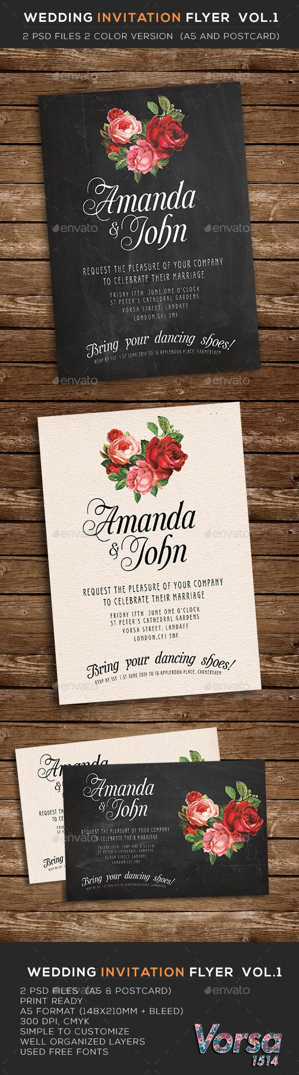 free wedding invitation psd%0A Wedding Invitation Flyer vol