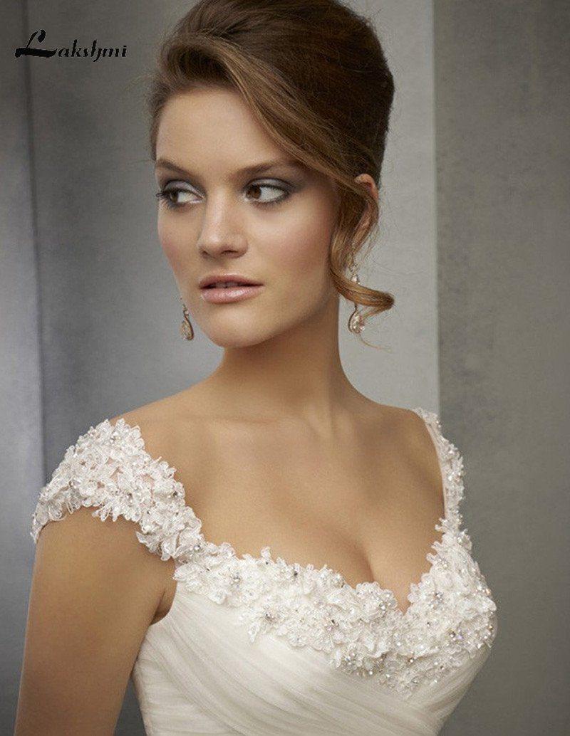 a12979022f1 2019 Elegant A-line Cap Sleeve Wedding Dresses Sweep Train Sexy Back Bridal  Gowns