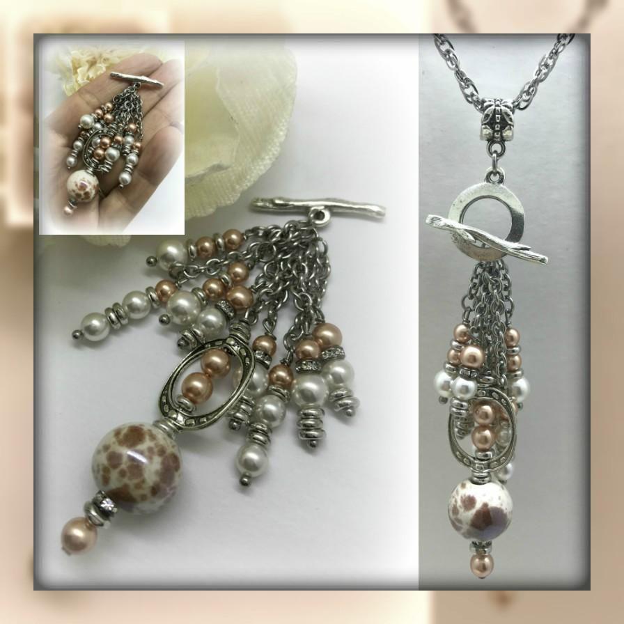 Lampwork glass and swarovski pearl interchangeable beaded pendant lampwork glass and swarovski pearl interchangeable beaded pendant necklace 1506d aloadofball Choice Image