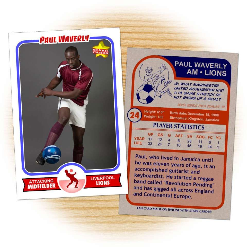 642868db4c1 Soccer card template from Starr Cards Soccer Card Maker.
