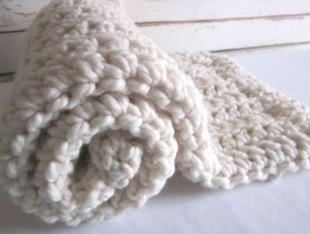Chunky wool blend blanket-throw for baby - NATURAL VANILLA | Chunky ...