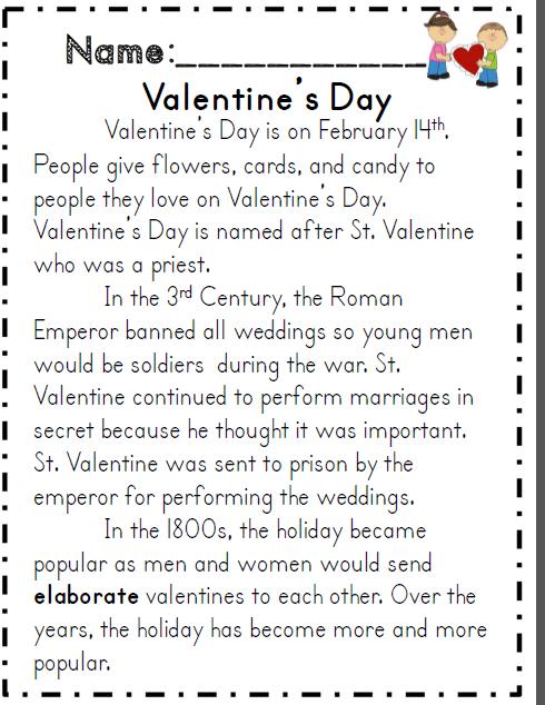 Valentine S Day Reading Passage And Comprehension Activity Valentines School Valentine Activities Common Core Activities