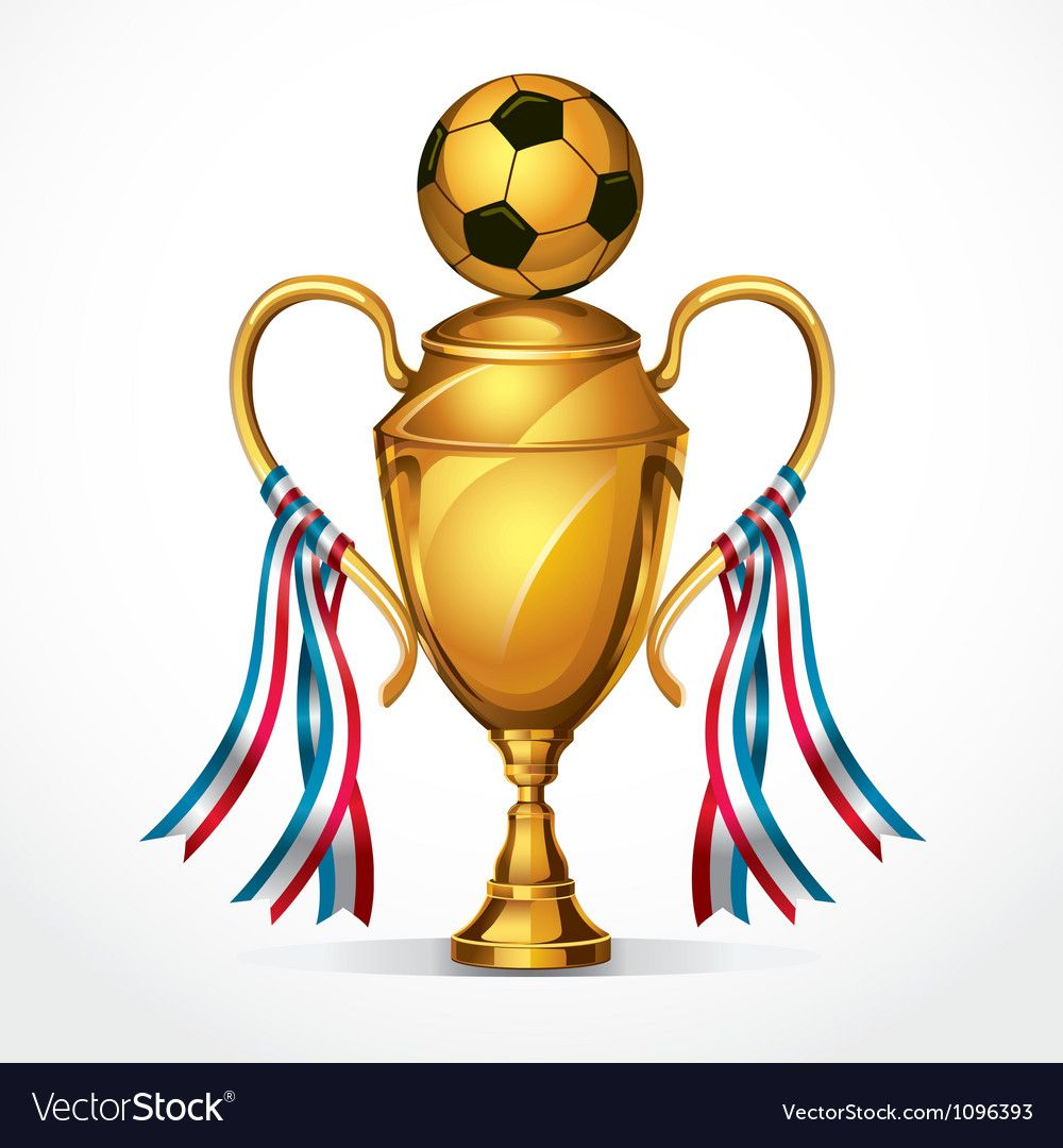 Soccer Golden Award Trophy And Ribbon Vector Image On