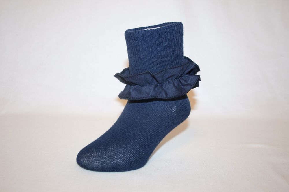 Infant and Girls Navy Blue Cotton-Nylon-Spandex Bobby Socks with Ruffle