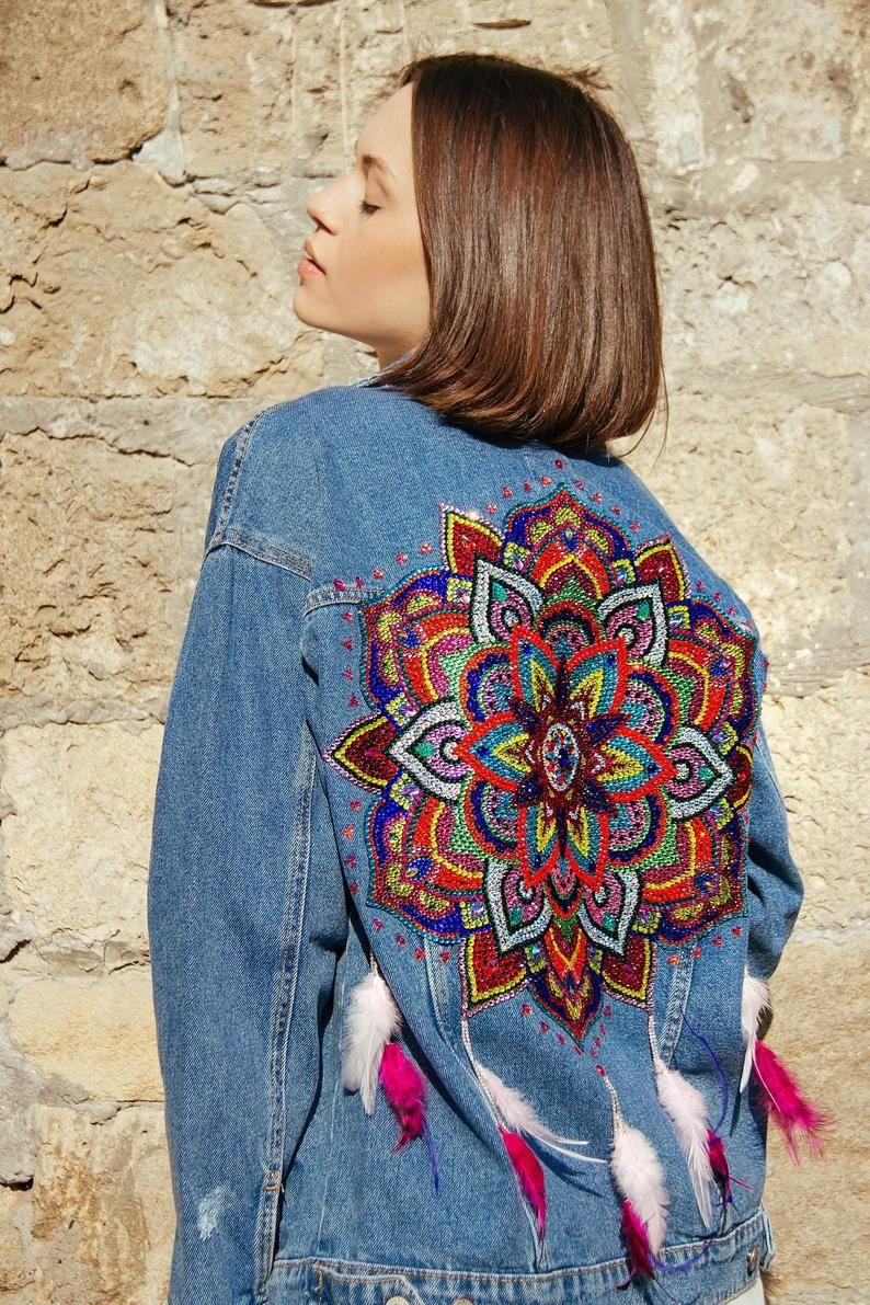 Pin By Alla Ilina On Handmade Denim Jackets Bohemian Clothes Boho Jeans Vintage Style Denim [ 1191 x 794 Pixel ]