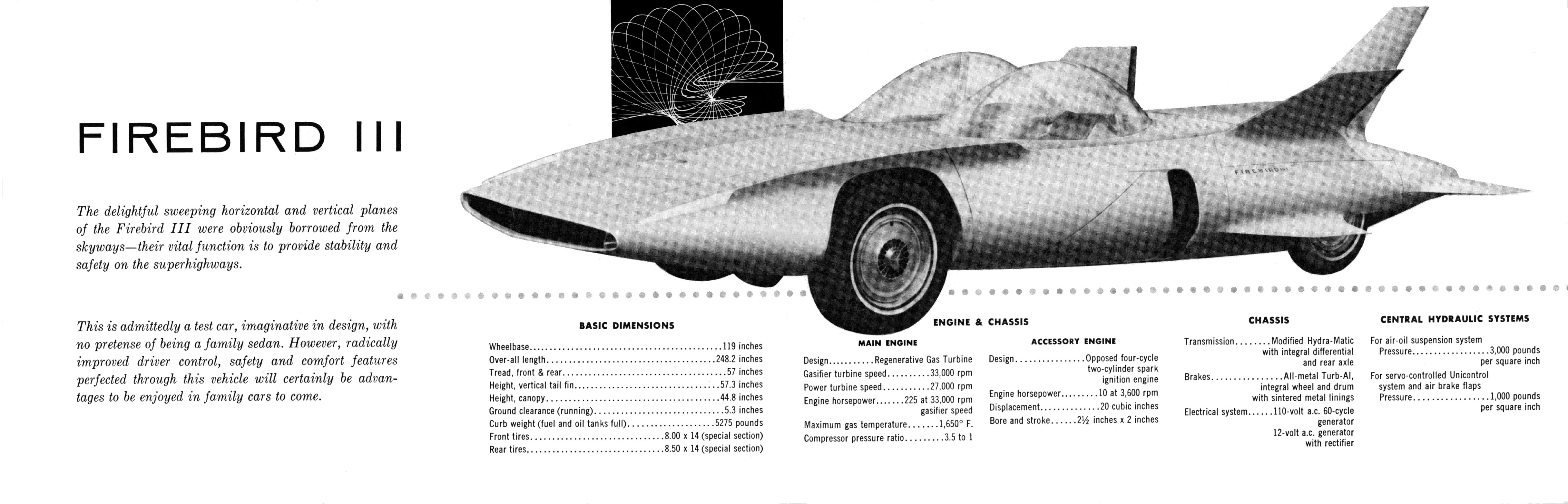 General Motors Firebird III 1958 brochure  | Concept Cars & Car