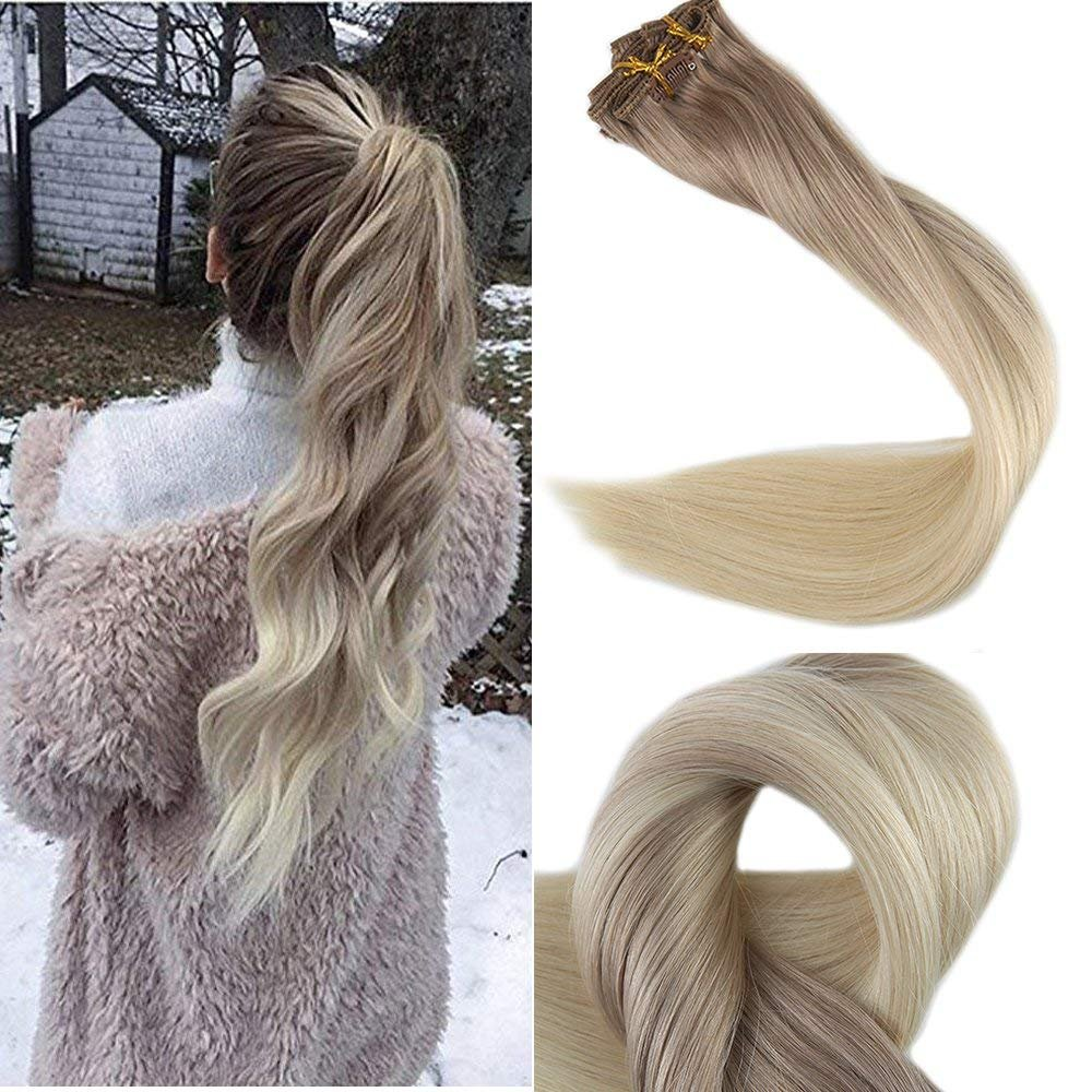 Full Shine 16 inch Clip in Ombre Human Hair Extensions Full Head Clip in Hair Extensions Blonde Balayage Color #8 Fading to #60 and #18 Ash Blonde 10 Pcs 120gram Full Head Set: Amazon.ca: Beauty #humanhairextensions