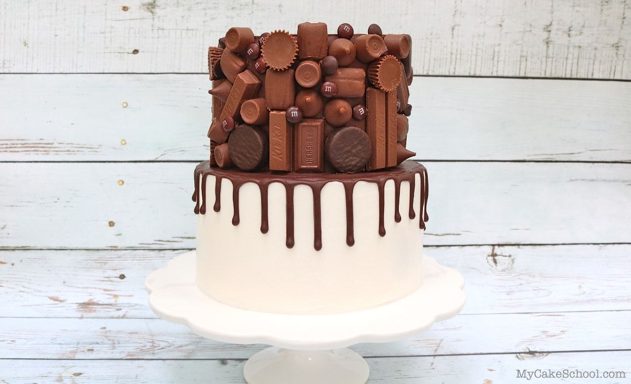Candy Bar Drip Cake- Free Video Tutorial #cakedecoratingvideos