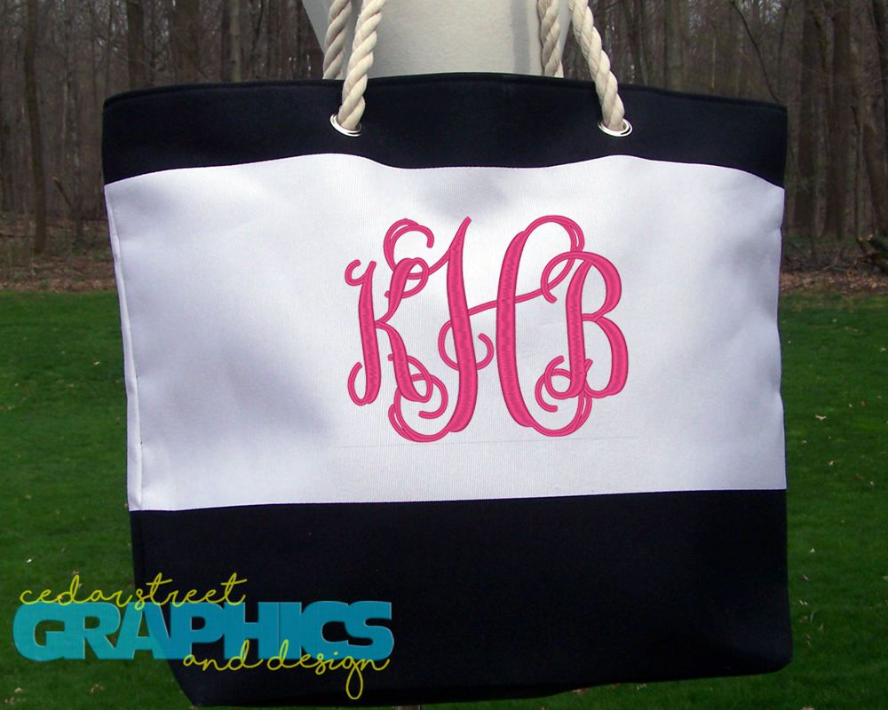 Monogrammed Beach bag - Personalized Tote Bag - Embroidered Beach ...