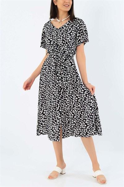 59 95 Tl Boydan Dugmeli Siyah Dokuma Viskon Elbise 32805 Modamizbir 2020 Elbise The Dress Mankenler