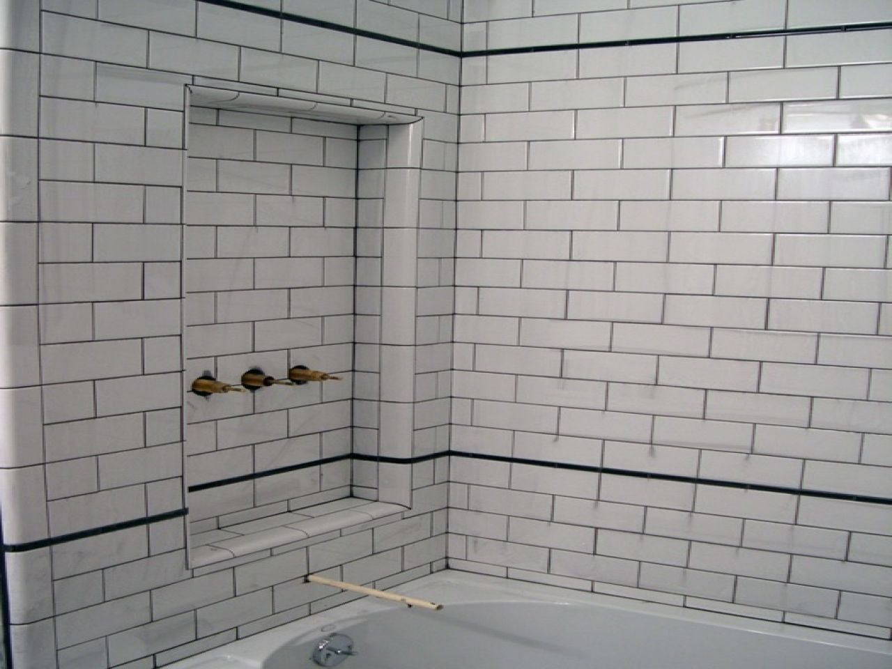 Dark Brown Tile With White Grout