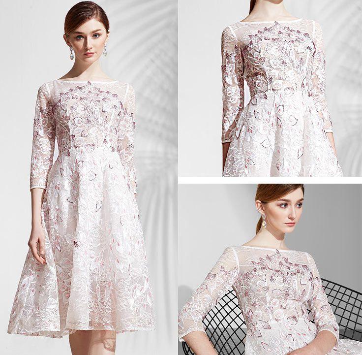 44089371b9916 robe dentelle romantique mi longue rose pale florale   Robe de ...