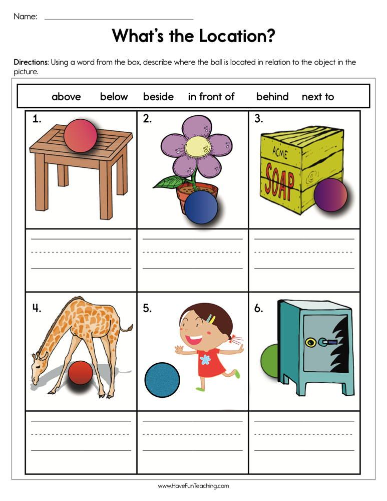 What S The Location Worksheet Kindergarten Worksheets Kindergarten Worksheets Printable Have Fun Teaching Free print worksheets for preschoolers